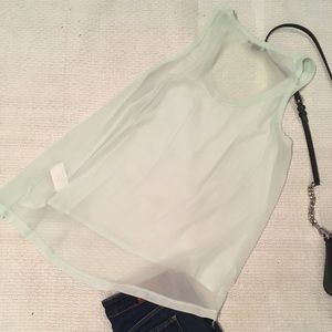 H&M Tops - Mint green swing tank with cotton front sheer back